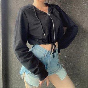 Trend с длинным рукавом молния короткие пуловерные пальто дизайнер женские весенние новые повседневные тонкие верхние одежды дамы пупок сексуальные с капюшоном мода