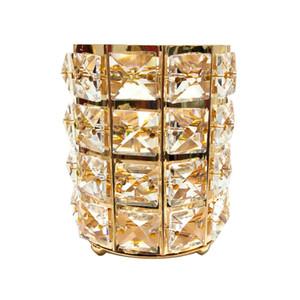 الكريستال شمعة حامل رومانسية ضوء الشموع العشاء شمعدانات الزفاف ترتيب سطح الذهب الشظية اللون القلم حاوية الإبداعية 13 5ZS L1