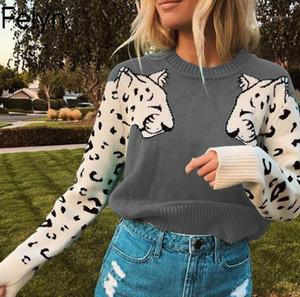 Felyn 2020 Nova Famosa Internet Celebridade Sweater Spring Wear Tiger Pattern Slim Fit Street Wear Sweater Tops BB0501