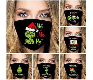 US STOCK Nouvel An Grinch Imprimer masques noirs réutilisables mode étanche à la poussière lavable visage Halloween masque point chaud par dhl