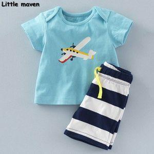 Küçük maven marka çocuk giyim 2020 yeni yaz erkek bebek giysileri pamuk düzlem baskı çocuk setleri 20082 Kgob #