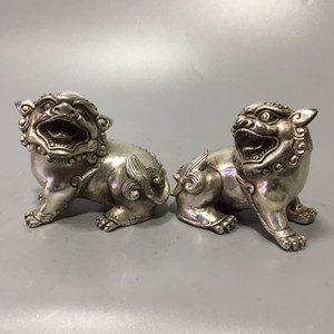 A31 Collection Chinese Old Tibétain Silver Lion Statue Lion Sculptée