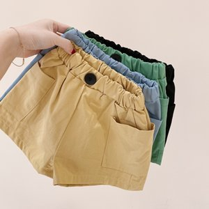 Wholesale New Korean INS Kids Girls Front Buttons Shorts Unisex Girls Spring Summer Boys Pockets Tatting Cotton Shorts Pants for 1-8T