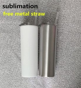 DIY Sublimation Skinny Tumbler 20oz Stainless Steel Slim Tumbler Straight Tumblers with Metal Straw Vacuum Insulated Travel Mug Best Gift