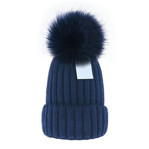 Ucuz Toptan Beanie Yeni Kış Kapaklar Örme Şapka Kadın Bonnet Kalınlaşmak Beanies ile Gerçek Rakun Kürk Pompomos Sıcak Kız Kapaklar Ponpon Beanie