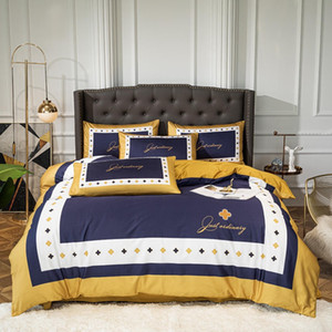 navy blue designer bedding sets gong cotton duvet cover bed comforters cover set queen size quilt cover yellow bed sheet pillow cases