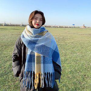 Fashion Winter Scarf for Women and Girls Patch Plaid Scarves Wraps Thick Warm Tassel Bib Ladies Cloak Hijabs Shawl