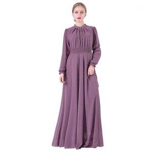 Этническая одежда Abaya Dubai Женщины Мусульманское Платье KAFTAN Цветовая шифон Большие качели с длинным рукавом упругая талия Bangladesh Robe Musulmane1