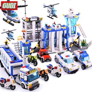 Cidade Série Polícia blocos de construção Figuras helicóptero Bloco montado Edifício DIY brinquedos Bricks Educacional Crianças Brinquedos presente bbyZMj