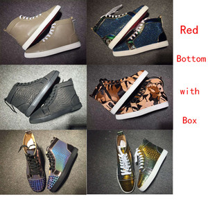 2020 Designer Top Red Bottom Leather Luxury Flat Soled Casual Shoes Fashion Black White Gold Pink Party Couple Dress Shoes With Box