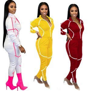 m44u Women Tracksuit Lucky Label Letters Long Sleeves T Shirts Crop Top Leggings Tight Hiking Running Two Piece Set Outfit Sports Suit New D
