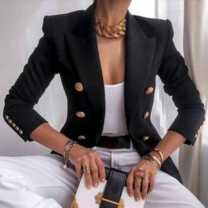 Nibesser Blazer Blazer Giacca da ufficio Doppi Breasted Harajuku Blazer Slim Fitting Femmina 2021 Cappotto Outfit da donna