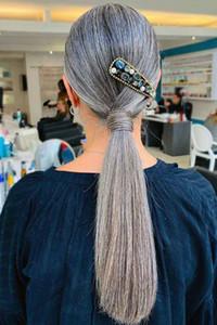 16inch человеческих волос хвостик #Grey Клип в Кусок хвостик волос Wrap Around Серый Ponytail Наращивание волос 120G
