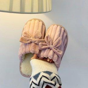 Shoes House Slippers Platform Low Winter Footwear Slides Fur Flip Flops Fashion Flat Massage Plush Luxury Rubber Cotton Fabric