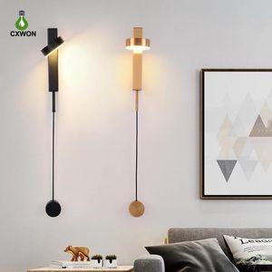 LED Indoor Mudar Lâmpadas de parede rotação escurecimento LED Sconce Luz Moderno Loft Interior Stair Corredor interior cabeceira iluminação da lâmpada