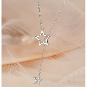 New 925 Sterling Silver Cute Shiny Star Choker Drop Charm Necklaces Charming Woman Wedding Party Birthday Jewelry
