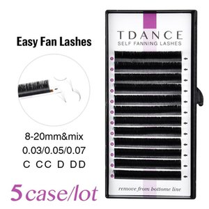 TDANCE 5pcs lot Rapid Blooming Volume Eyelash Extensions self fanning Fast Fan Individual Lashes Rapid Automatic Blooming