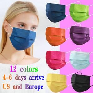 12 색 패션 페이스 마스크 3 층 일회용 마스크 보호 부직포 먼지 방지 성인 어린이 mascarilla mascherina 50 PCS 소매 패키지