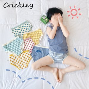 Children Cotton Underwear Cartoon Pattern Boxer for Boys Girls Knickers Soft Breathable Underpants Candy Color Dots Kids Briefs Y0126