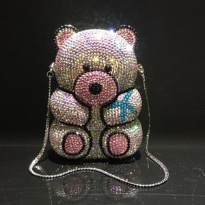 Los cristales de boda del diseñador-HMJM 3D del partido de tarde del diamante lindo del oso bolsa de embrague de las mujeres del monedero del bolso de las señoras de plata Azul Amarillo