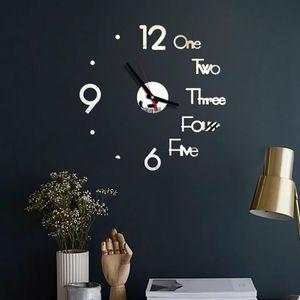1Set DIY Digital Wall Clock 3D Mirror Surface Sticker Silent Clock Home Office Decor Wall for Bedroom Office Decor