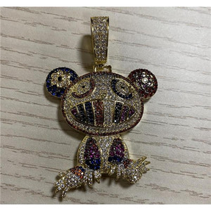 18k Yellow Gold Multi-color Iced Takashi Murakami Panda Pendant Necklace Micro Paved Zircon Me wmtUDr beauty888