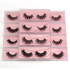 3D Mink Magnetic Eyelashes 12 estilos Faux Natural Pestañas Falsas Petras
