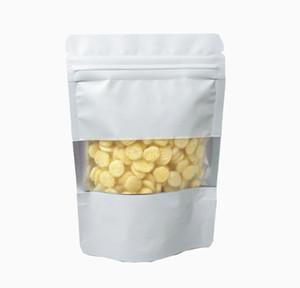 100pcs lot Matte White Aluminum Foil Food Doypack Zip Lock Package Bag With Window Reclosable Mylar Zipper Pouc wmtpTi dh_niceshop