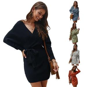 2021 Diseñador Vestidos para mujer Mujeres Batwing Manga Larga Sexy Cuello en V Backless Sólido Sólido Wrap Swap Dress