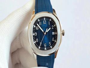 Nuevo estilo Movimiento automático Vidrio Volver Hombres Populares Reloj Azul Face Sapphire Crystal Sweatband Reloj de banda de goma
