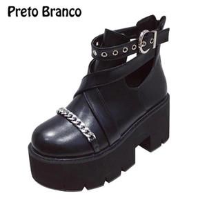 PRETO BRANCO 8cm Heels 2020 Women's The Muffin Platform Metal Wedge High Heel Booties Women Shoes Boots Women