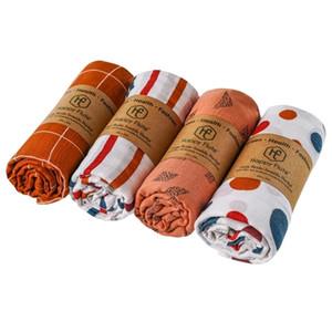 HappyFlute 4pieces / Set Muslin Decken 120 * 120 cm Unisex Baby Swaddle Warp Muslin Baumwolle Babydecke 201128