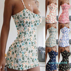 Plus Size Womens Sling Print Floral Dress Holiday Playsuit Romper Ladies Jumpsuit Summer Beach Casual Dress S-5XL