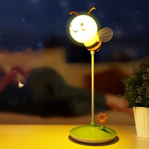 Modern LED Cartoon Night Light Bee Style USB Touch Dimmable Desk Lamp Care Baby Room Bedside Bedroom Lights Decoration De Maison