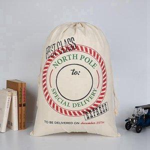 Canvas Christmas Sants Bag Large Drawstring Candy Bags Santa Claus Bag Xmas Santa Sacks Gift Bags For Christmas Decoration EEE2682