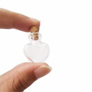 100 pcs 20x24x6 mm Petit Bouteilles en verre avec des bouchons de bricolage Mini Heart Shaped Art Jars Cadeaux Fioles Lovely Little Pendentifs