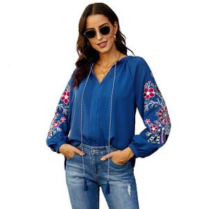 Camiseta de diseño de diseño de mujeres mediano y otoño con cuello en V manga larga jersey flojo bordado top shi ying 253058