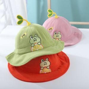 Children's hat cartoon super cute baby fisherman hat embroidery frog adjustable baby pot hat