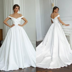 Off Shoulder Jewel Neck Bohemian Wedding Dresses Court Train Satin Cris Cross Back Beach A Line Wedding Bridal Gowns