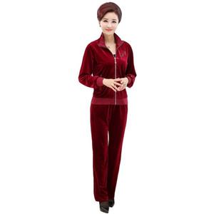 Women Tracksuit Spring Autumn Mother Clothes Long Sleeve Jacket+trousers Two-piece Velvet Suit Plus Size 4xl Pants Set