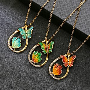 Exquisite Water Drop Painting Necklace 3 Colors Butterfly Pendant Gold Plated Link Long Chain Necklaces Fashion Jewelry Butterfly Necklace