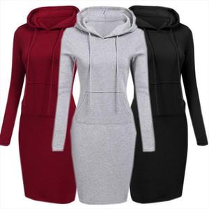 Velvet Hooded Hoodie Dress Women 2020 Spring Autumn Sweatshirts Long Sleeve Hoodies Pockets Sweatshirt Hoody Pullovers Dresses