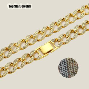 Hot! Hip Hop Jewelry Sets Full Cubic Zirconia Miami Cuban Chain Necklace & Bracelets Bling Bling Iced Out Rapper Rocker HipHop Accessories