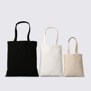 2pcs- Blank cotone Handle Bag fai da te dipinta a mano Tote Bag White / Black Canvas