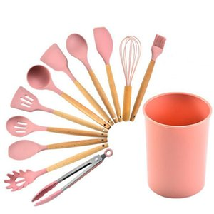 Wooden Handle Kitchenware Spoon Salvage Scraper Shovel Clip Brush 11 Pieces Pink Silica Gel Kitchen Supplies