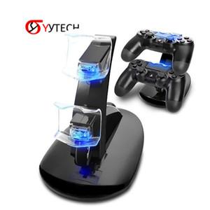 Syytech شحن مجاني تحكم شاحن قفص الاتهام LED المزدوج USB PS4 شحن موقف محطة مهد للبلاي ستيشن 4 PS4 / PS4 برو / PS4 ضئيلة