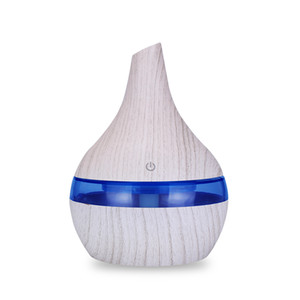 KBAYBO 300ml USB Air Humidifier Mini Air Purifier Electric Humidifier White Wood Grain Ultrasonic Aromatherapy Diffuser