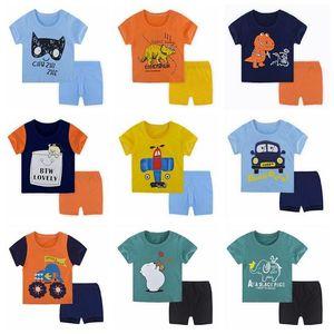 2pcs sets 6-24M Unisex Summer Pajamas Newborn Clothing Sets Short Sleeve Cotton T-shirt Pants For Toddler Boy Girls Clothes