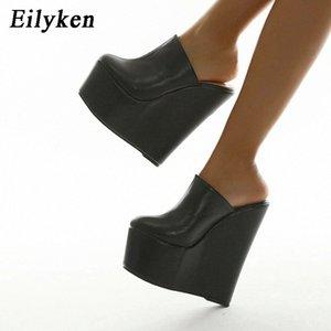 Eilyken Platform Wedge Bombas de cabeza redondas zapatillas zapatos de verano negro mujer sexy súper alta sandalia zapatillas negro 35-42 # xu4s