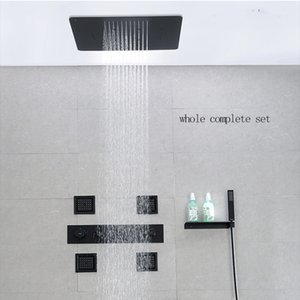 바디 제트 벽 온도 조절 믹서 현대 욕실 샤워 세트 시스템 3 개 기능 강우 미스트 폭포 샤워 장착